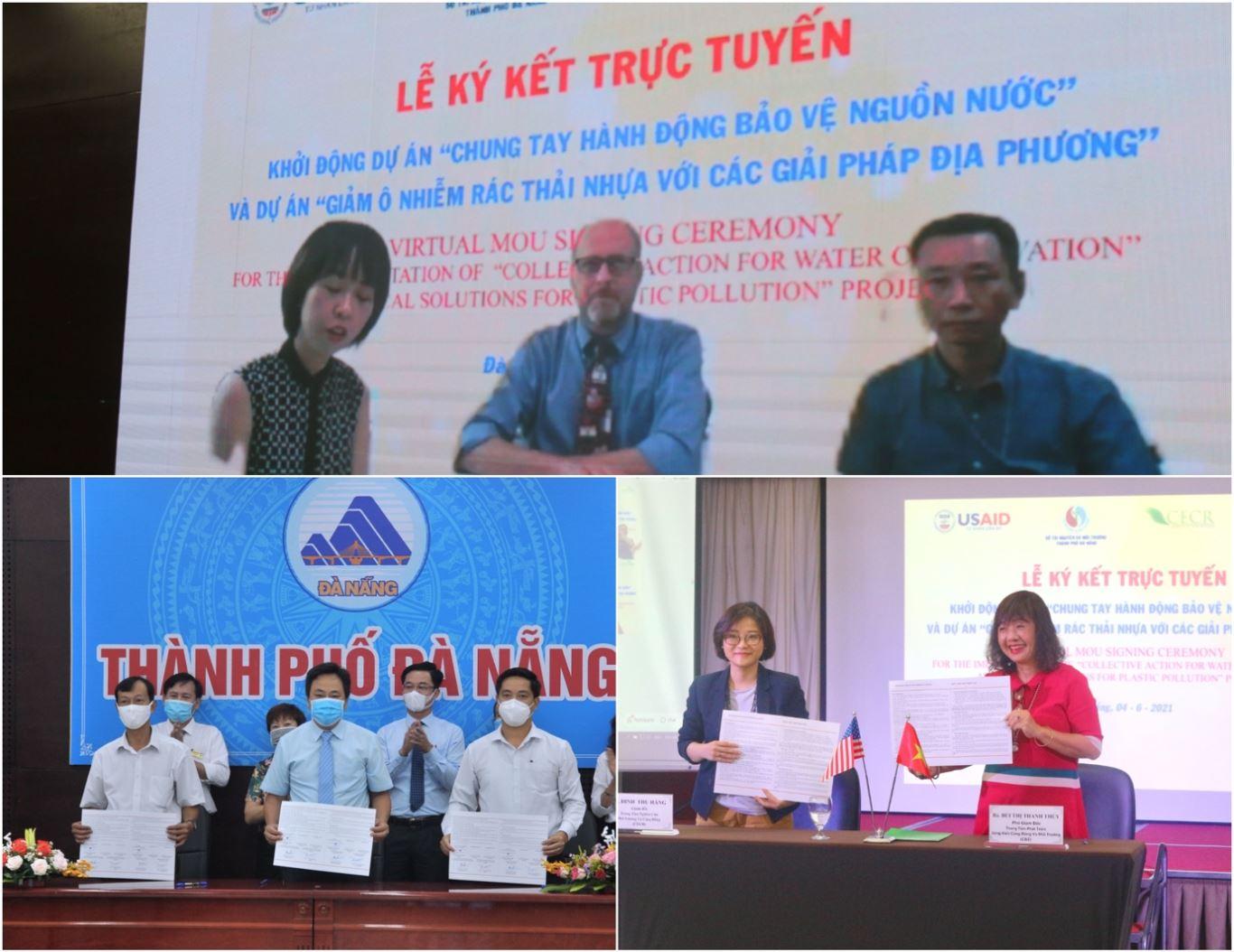 Lễ ký kết Biên bản ghi nhớ tại 3 điểm cầu: Trụ sở USAID Việt Nam, UBND TTP. Đà Nẵng và tại CECR